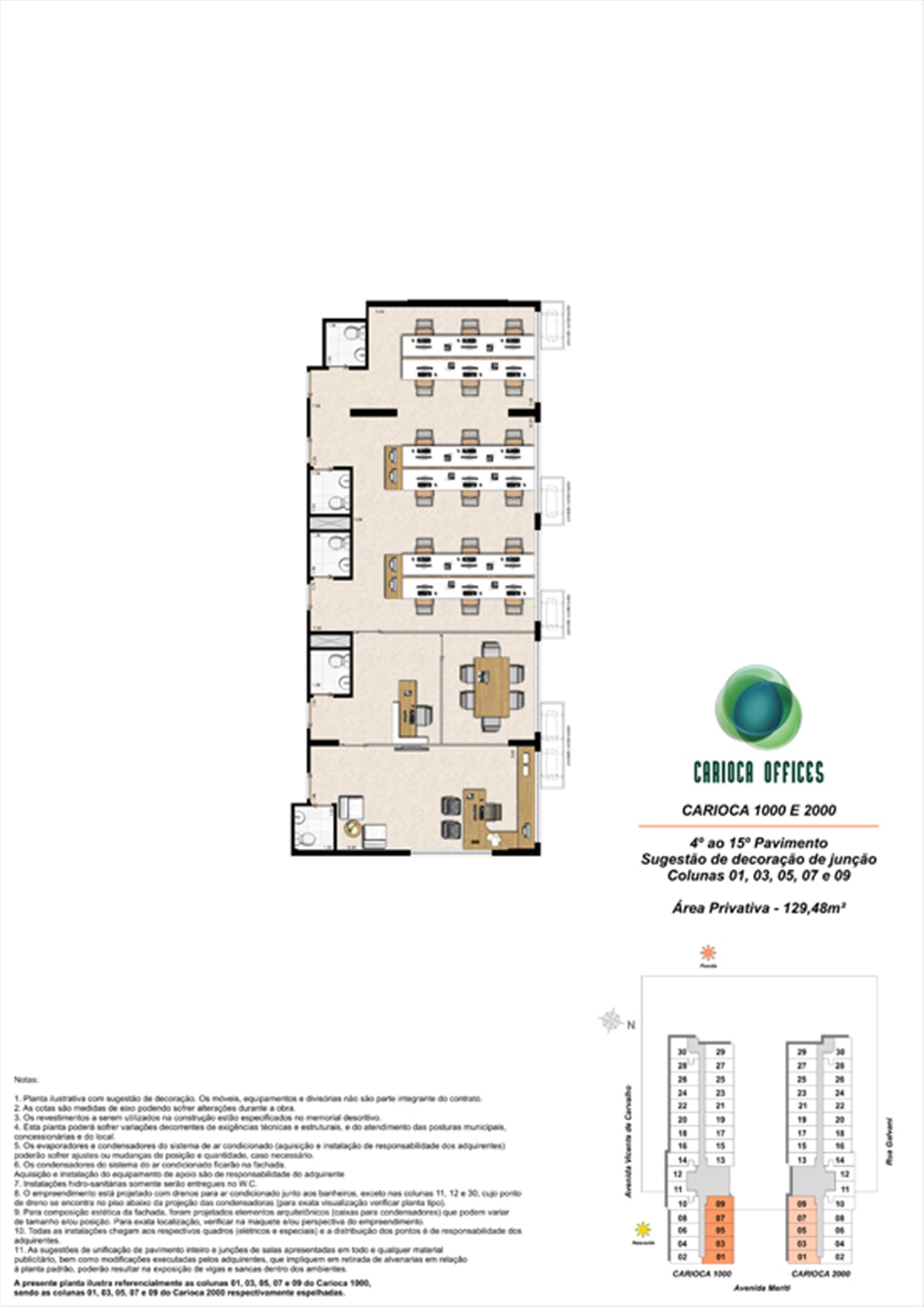Sugestão de decoração de junção - Carioca 1000 e 2000 - colunas 01, 03, 05, 07 e 09 - 4º ao 15º Pavimento | Carioca Offices – Salas Comerciais na  Vila da Penha - Rio de Janeiro - Rio de Janeiro