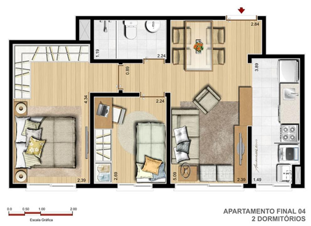 2 Dorm - 47 m² | Reserva Ipanema – Apartamentoem  Ipanema - Porto Alegre - Rio Grande do Sul