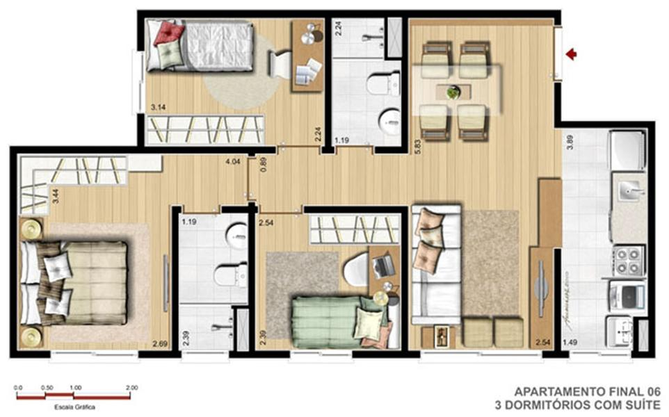 3 Dorm com Suíte - 61 m²