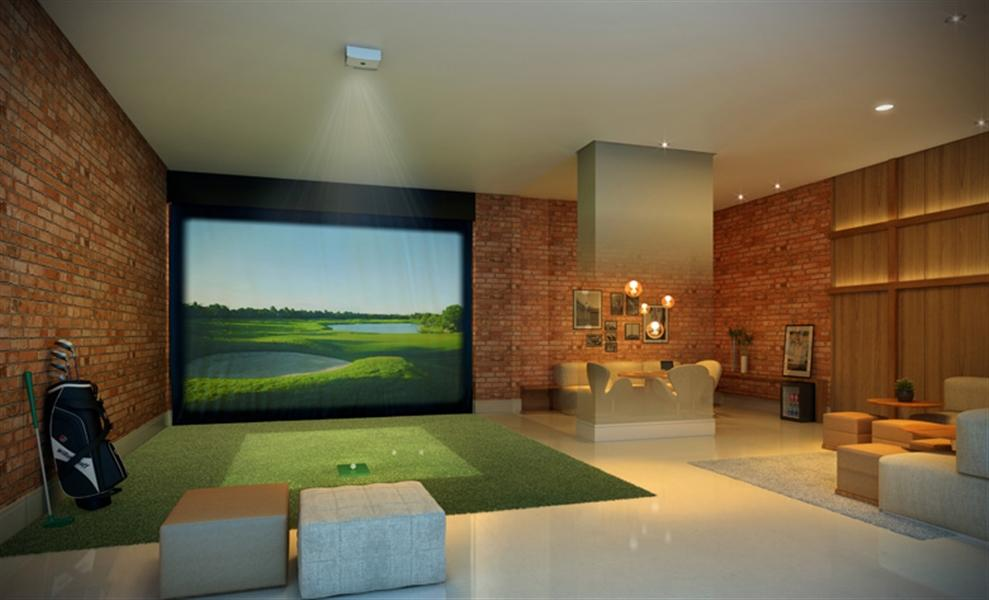 Perspectiva Ilustrada do Lounge Adulto com Simulador de Golf