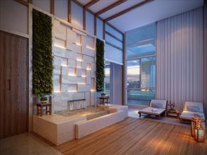 Perspectiva Ilustrada do Descanso com sauna seca, ducha e sala de massagem