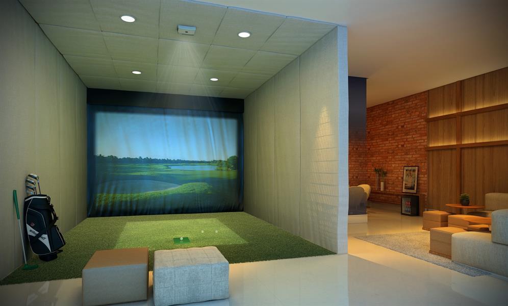 Perspectiva Ilustrada do Lounge adulto com Simulador de Golfe