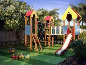 Perspectiva Ilustrada do Playground com brinquedo multiuso