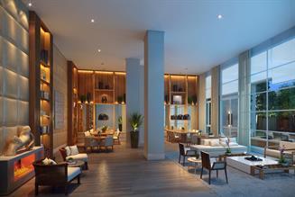 Perspectiva Ilustrada do Salão de festas gourmet com pé-direito duplo e terraço anexo