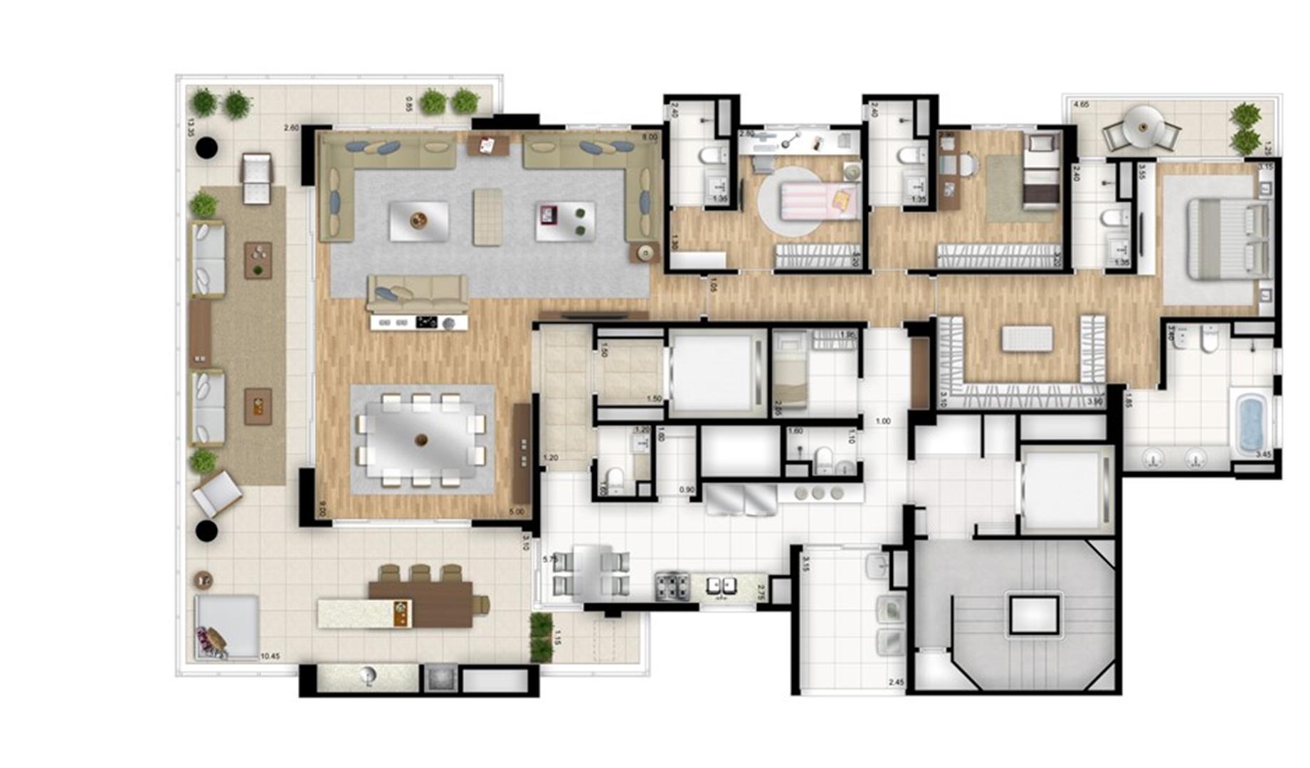 Planta tipo opção 3 suítes com sala de banho na suíte master - sala ampliada - Torre Nero | Cyrela Essenza Moema – Apartamento em  Moema - São Paulo - São Paulo