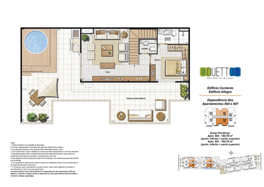 Cobertura Duplex - 2 Quartos com suíte - 184m² - pavto Inferior + pavto superior (2) | Duetto Residencial & Lazer – Apartamentono  Grajaú - Rio de Janeiro - Rio de Janeiro