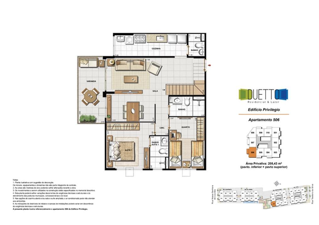 Cobertura Duplex - 3 Quartos com suíte - 208,43m² - pavto inferior+ pavto superior (2) | Duetto Residencial & Lazer – Apartamentono  Grajaú - Rio de Janeiro - Rio de Janeiro