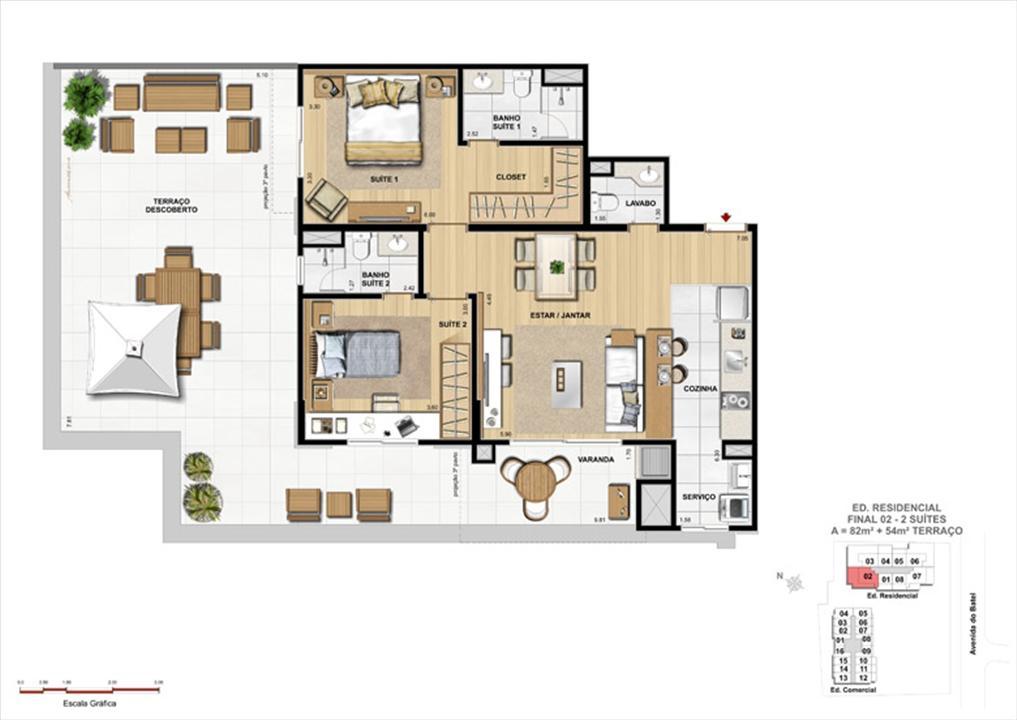 Apartamento 2 Suítes com Terraço | 1550 Batel (Home Batel) – Apartamentono  Batel - Curitiba - Paraná