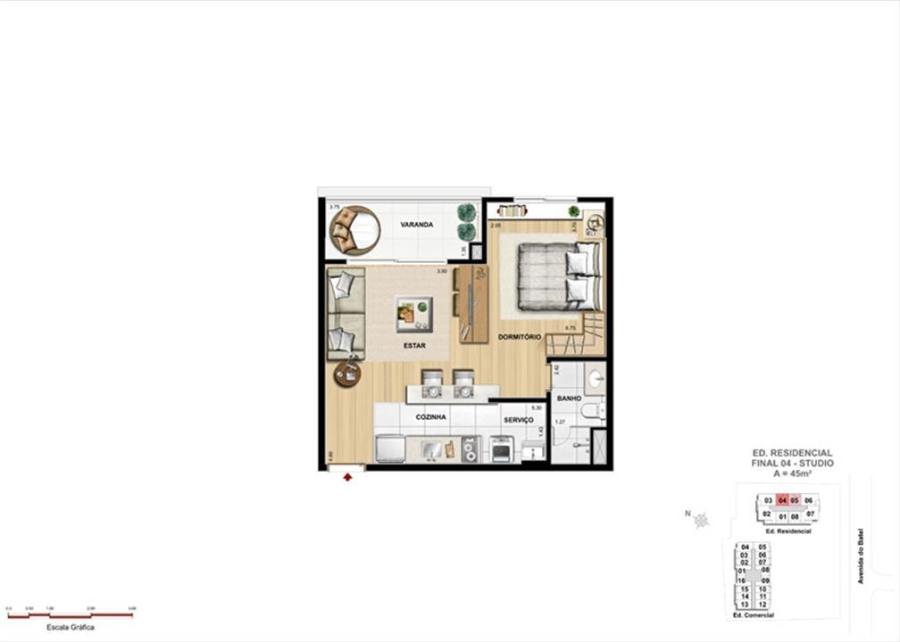 Apartamento Studio | 1550 Batel (Home Batel) – Apartamentono  Batel - Curitiba - Paraná