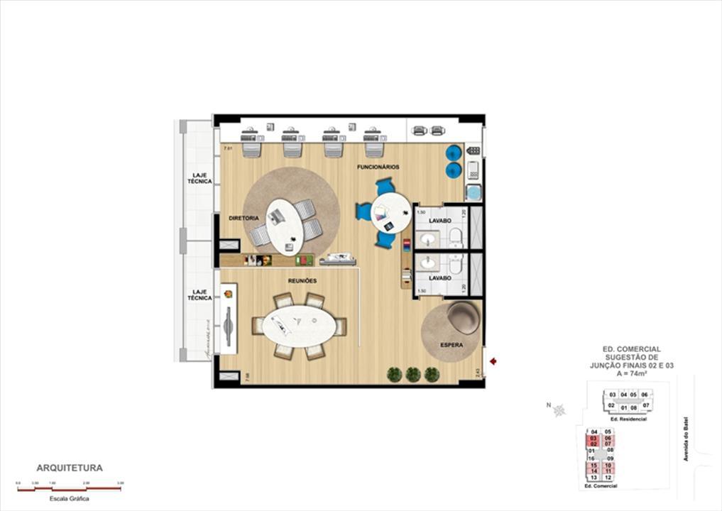 Planta Modelo de Escritório de Arquitetura | 1550 Batel Comercial (Work Batel) – Salas Comerciaisno  Batel - Curitiba - Paraná